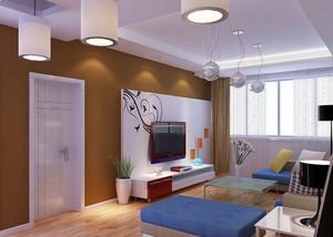 时尚简约80平米两居室客厅电视背景墙装修效果图