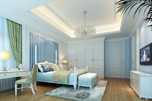 地中海风格自然清新卧室装修效果图