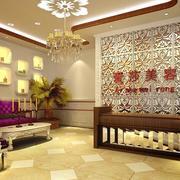 60平米清新美容院背景墙装修效果图实例