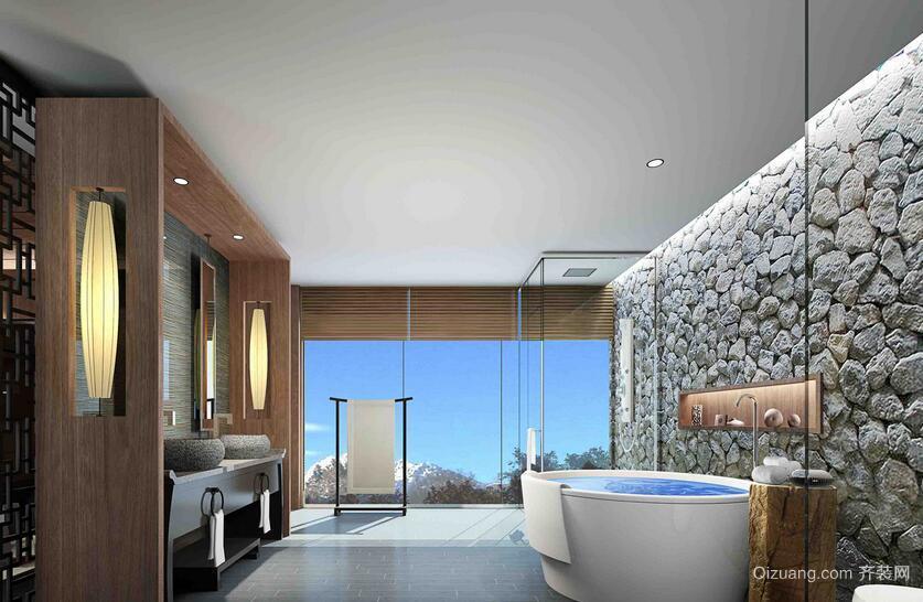 140平米完美的宾馆浴室背景墙装修效果图欣赏