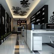 120平米现代房屋办公室背景墙装修效果图