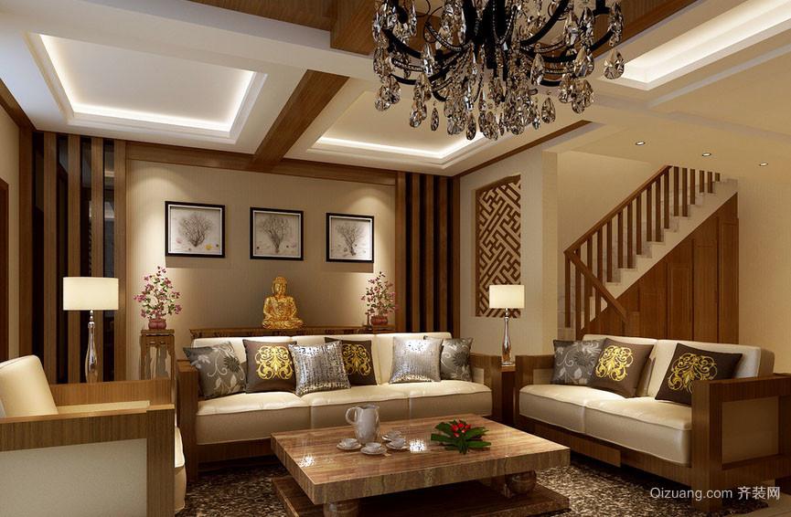 复式小楼现代美式风格客厅装修效果图