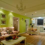 现代小清新客厅背景墙装修效果图