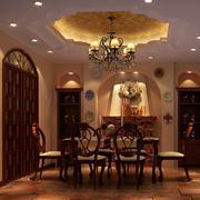 美式古典风格餐厅整体图