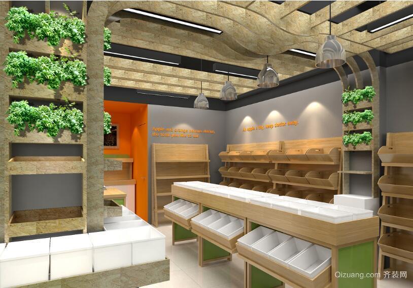 30平米现代风格水果店背景墙装修效果图