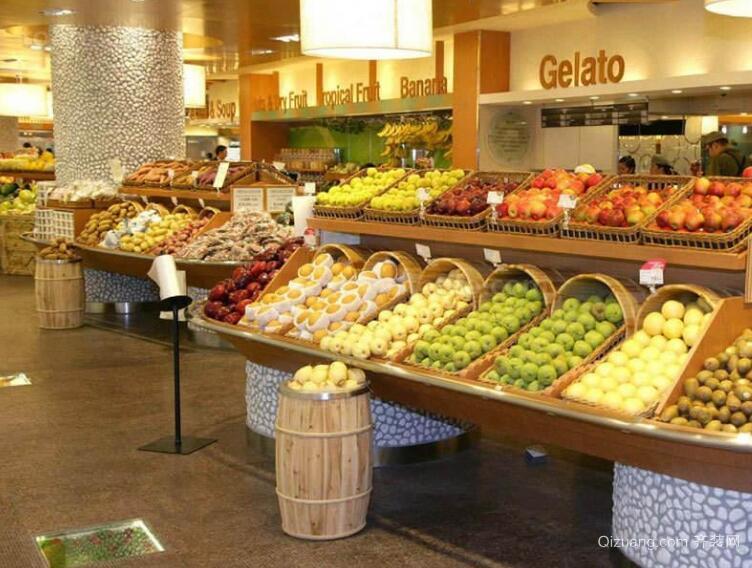 120平米现代经典水果店室内背景墙装修效果图实例