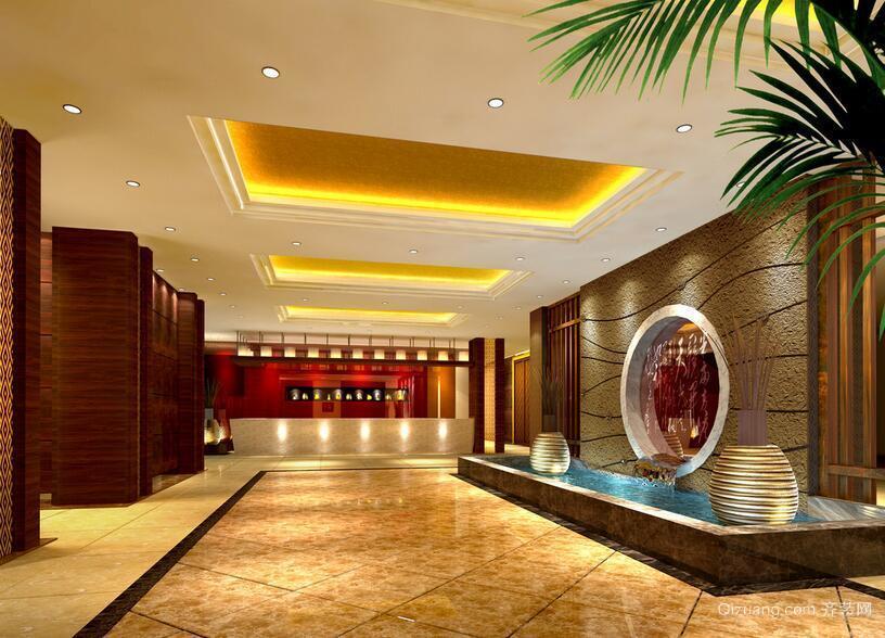 120平米现代宾馆室内背景墙设计装修效果图
