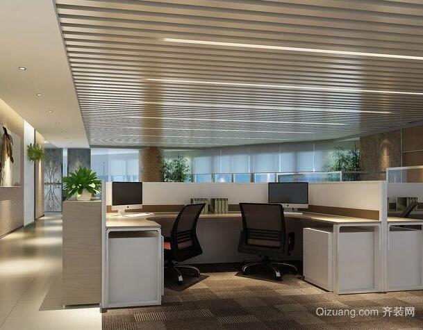 30平米简约办公室室内吊顶设计装修效果图