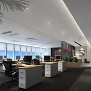 140平米简约办公室室内背景墙设计装修效果图