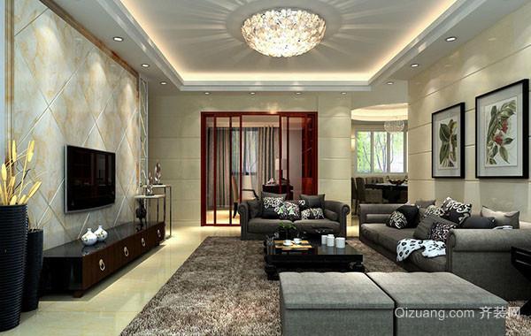 精美华丽客厅吊顶吊灯装修效果图