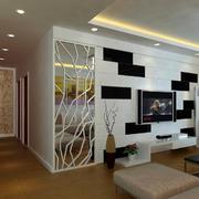 现代都市时尚精致客厅背景墙效果图