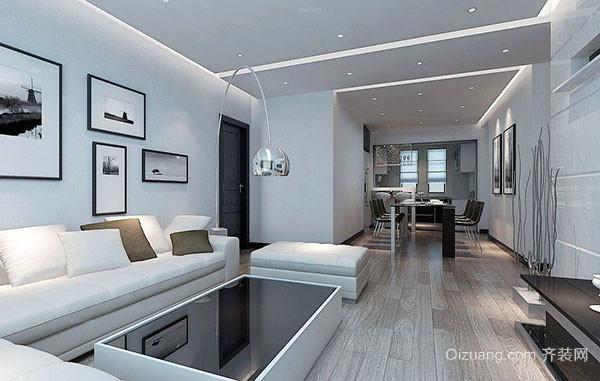 时尚都市中冷色调客厅装修效果图