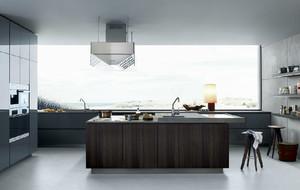 都市时尚精致别墅开放式厨房装修效果图