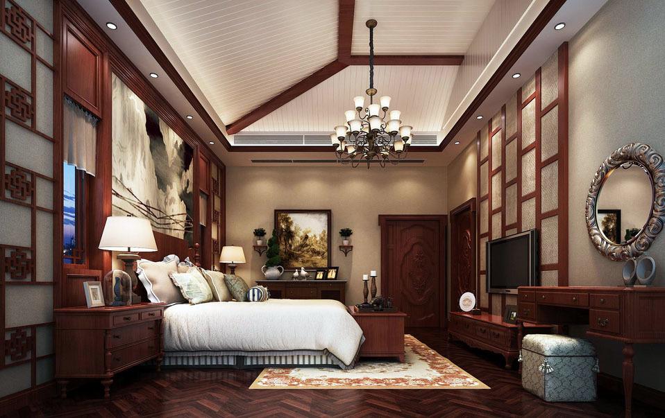 中式复古风格卧室整体装修效果图