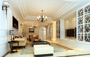 120平米大户型现代简欧风格客厅装修效果图