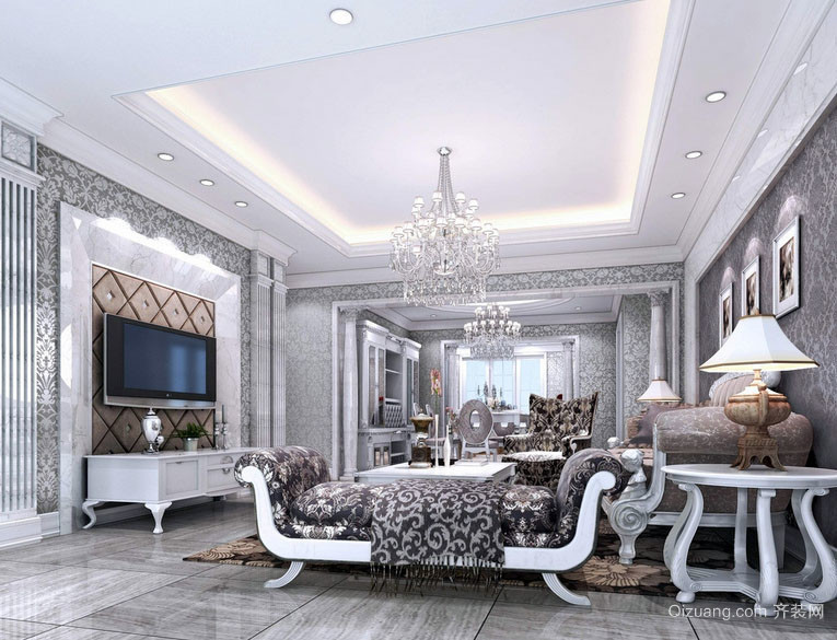 现代欧式风格别墅奢华客厅装修效果图