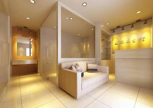 90平米现代简约美容院室内背景墙装修效果图