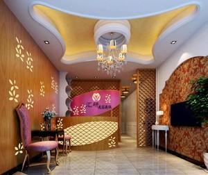 120平米简约美容院室内背景墙装修设计效果图