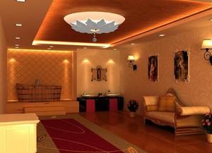 140平米简约美容院室内背景墙装修设计效果图