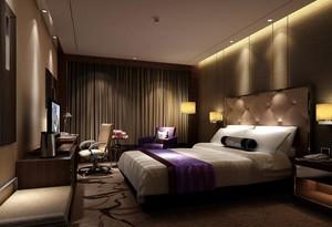 200平米大型简约宾馆卧室窗帘装修效果图