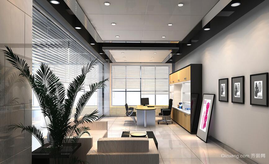 60平米混搭办公室背景墙装修效果图欣赏