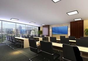 90平米混搭精美办公室室内飘窗装修效果图