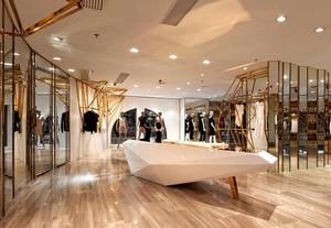 90平米混搭服装店室内背景墙设计装修效果图