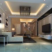 110平米三居室现代简约风格客厅装修效果图