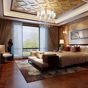 中式卧室吊灯装修效果图