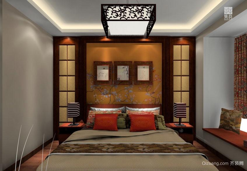 复古中式大户型卧室吊顶装修效果图