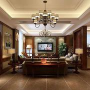 美式风格客厅吊灯装修效果图