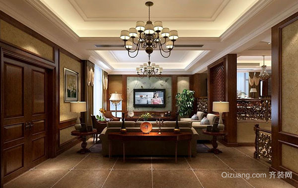 美式经典别墅型客厅装修效果图