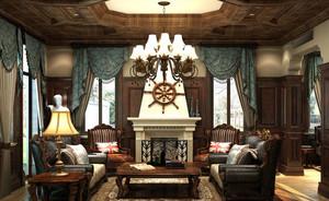 美式古典精致别墅客厅装修效果图