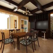 60平米混搭餐厅室内背景墙设计装修效果图
