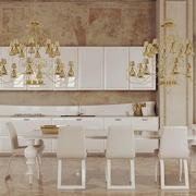 200平米大户型混搭餐厅室内背景墙装修效果图