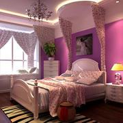 紫色女生儿童房效果图