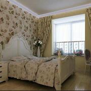 卧室田园风格窗帘效果图