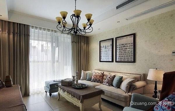 美式风格精致客厅背景墙装修效果图