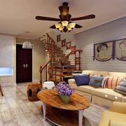 时尚美式混搭古典复式小楼客厅装修效果图