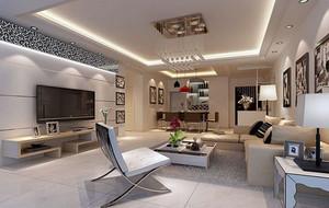 120平米三居室客厅背景墙装修效果图