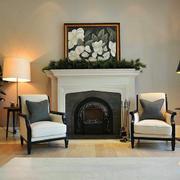 美式风格客厅壁炉装修效果图