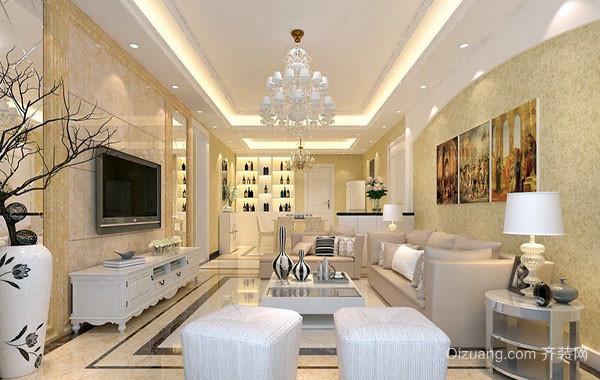 欧式风格精致典雅客厅吊灯装修效果图