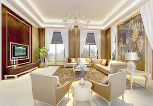欧式风格别墅客厅整体装修效果图