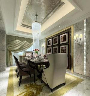 135平米精致餐厅室内背景墙设计装修效果图