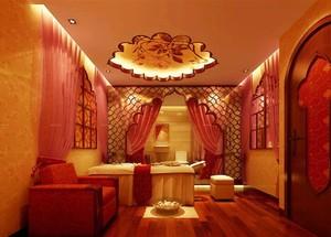 130平米精致美容院室内背景墙装修效果图
