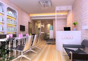 200平米精致美容院室内背景墙装修设计效果图