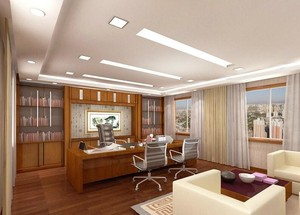95平米精致办公室室内吊顶装修设计效果图