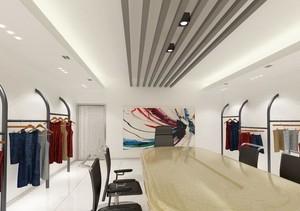 67平米自然服装店室内吊顶设计装修效果图