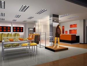 135平米自然服装店室内吊顶装修设计效果图