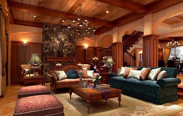 新旧兼容美式风格别墅客厅装修效果图